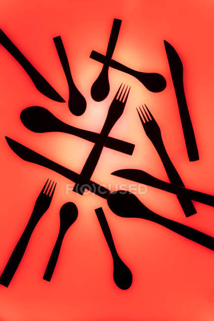 Set of cutlery on colorful background — Stock Photo