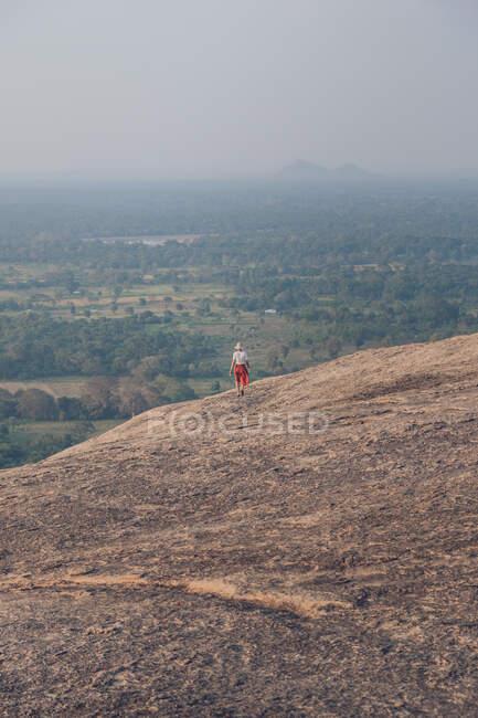 Dall'alto vista posteriore di donna viaggiante irriconoscibile in abiti casual camminare in discesa sullo sfondo della valle con foresta e lago durante le vacanze estive a Sigiriya — Foto stock