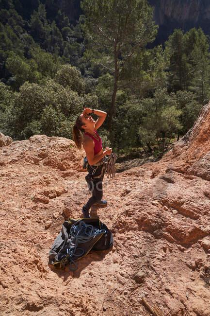 De cima jovem mulher ativa em equipamentos de segurança olhando para cima com corda nas mãos e se preparando para escalar rocha — Fotografia de Stock