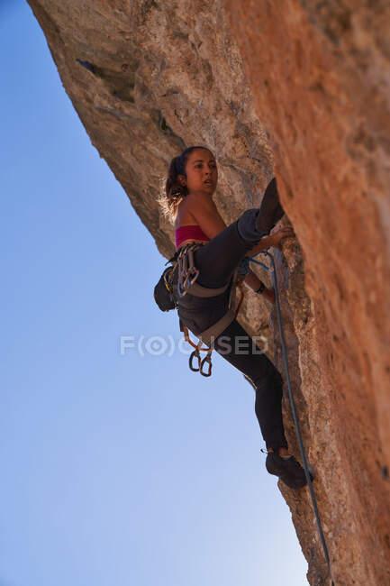 De baixo alpinista fêmea ativa em sportswear com corda e equipamento de segurança ascendente encosta rochosa de alta montanha no dia ensolarado — Fotografia de Stock