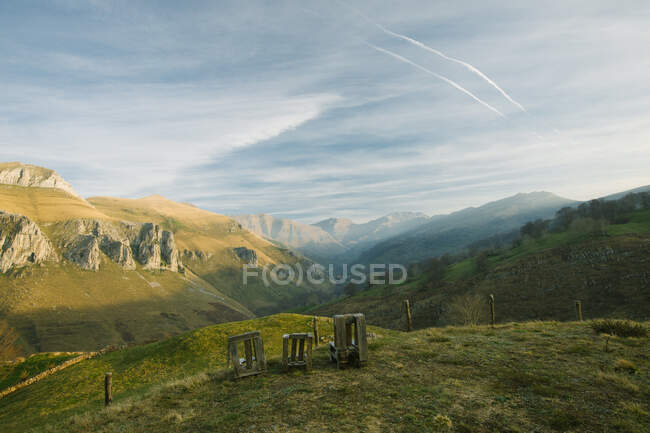 Valley of majestic mountains covered with green grass and forests located in Cantabria — Stock Photo