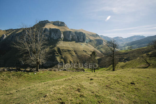 Majestic sunny landscape of mountains and green fields in highlands  of Cantabria — Stock Photo