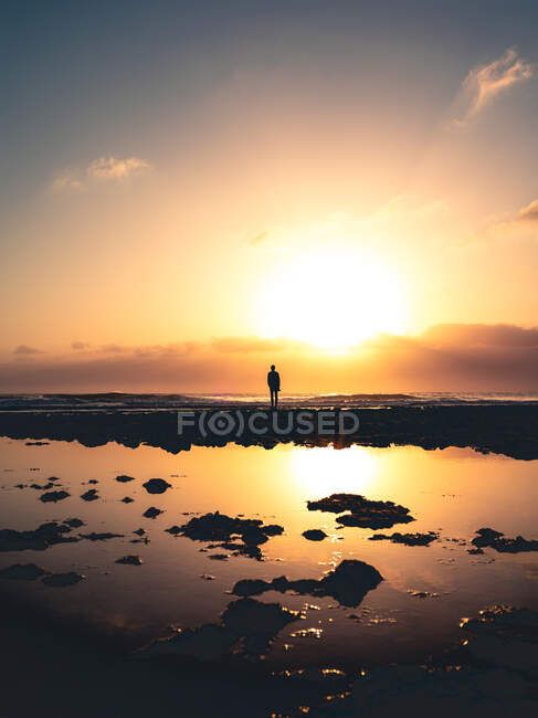 Silhouette of anonymous person standing on shore near calm water against sundown sky in evening on Fuerteventura Island, Spain — Photo de stock