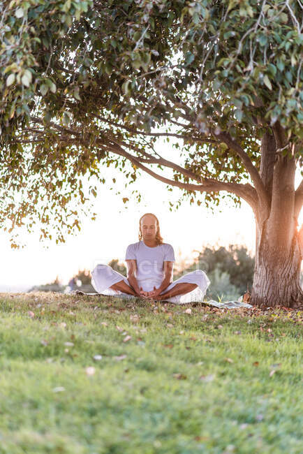 Side view of distance male in white clothes in lotus position meditating on green lawn against tree in summer evening in park — Stock Photo