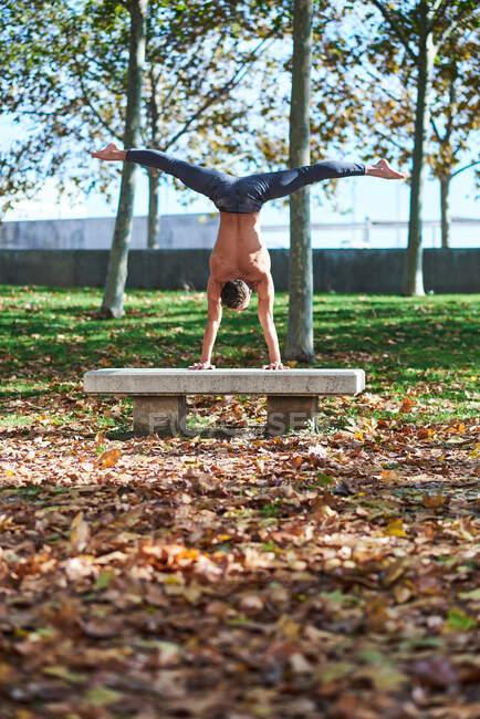 Vue arrière d'un homme torse nu méconnaissable en jeans faisant un support avec des jambes écartées sur un banc gris en béton dans un parc d'automne avec des feuilles tombées — Photo de stock