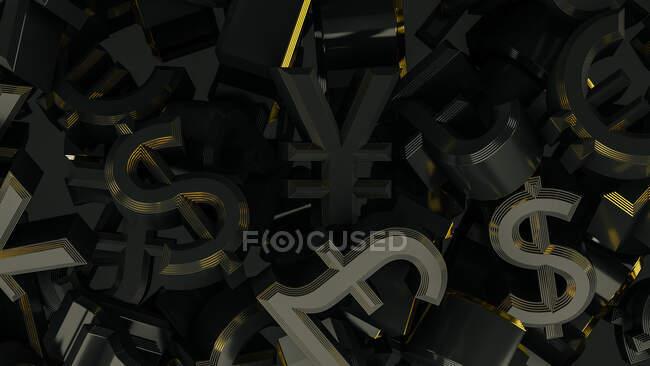 Vista superior dos símbolos de moeda Euro, Dólar, Iene e Libra no fundo preto — Fotografia de Stock