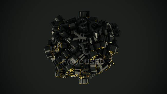 Palla di Euro, Dollaro, Yen e Sterlina simboli di valuta su sfondo nero — Foto stock