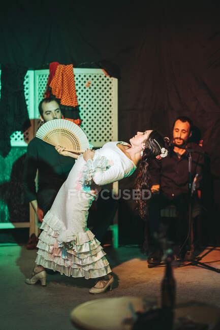Trio di artisti ispanici che danno spettacolo di flamenco sul palco del teatro — Foto stock