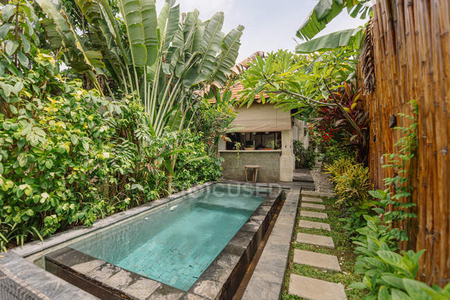 Cozy courtyard with pool surrounded by tropical plants and bamboo fence in Bali — Stock Photo
