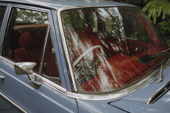 Vintage car with red antique interior parked under tropical trees reflected in windshield — Stock Photo