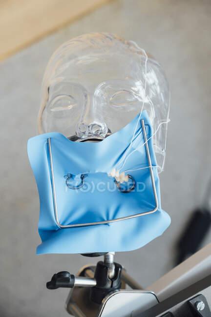 De cima de barragem de borracha azul instalado no manequim de plástico durante o treinamento em tratamento odontológico no curso de odontologia — Fotografia de Stock