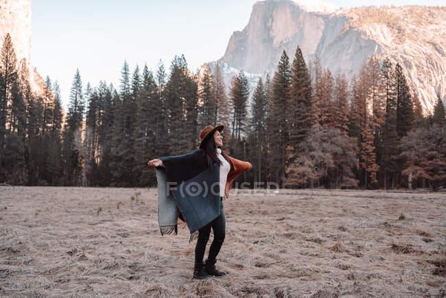 Felice rilassato giovane viaggiatore femminile in abito elegante seduto sul confine di pietra contro pittoresco scenario di montagna con scogliere rocciose e foresta di conifere nel Parco Nazionale di Yosemite negli Stati Uniti — Foto stock