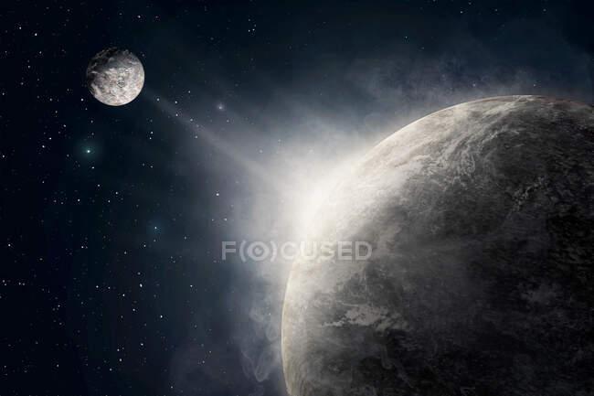 Захватывающий космический фон, включая планету Земля и луну со звездами во время восхода солнца — стоковое фото