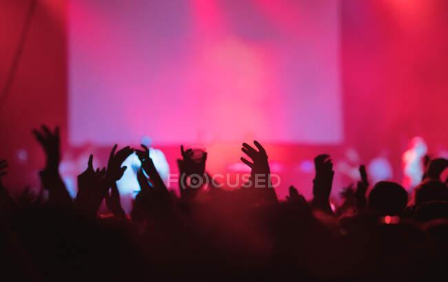 Siluetas retrovisoras de personas contra el escenario iluminado con luces durante la interpretación musical - foto de stock