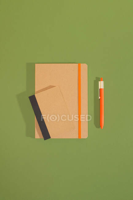 Top view of craft recycled notebooks with a pen over green background — Stock Photo