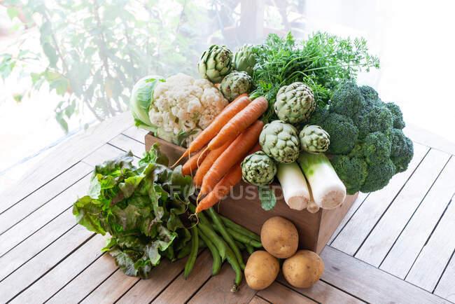 De arriba de la cosecha de hortalizas distintas maduras puestas en la caja de madera en el jardín - foto de stock