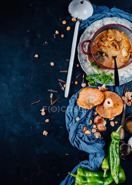 Верхний вид миски с вкусным супом помещен на стол с красными сосновыми грибами и острым зеленым перцем чили подается на ужин — стоковое фото