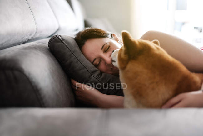 Feminino proprietário em roupa casual dormindo com cão bonito Shiba Inu durante o tempo livre no dia de fim de semana no quarto acolhedor — Fotografia de Stock