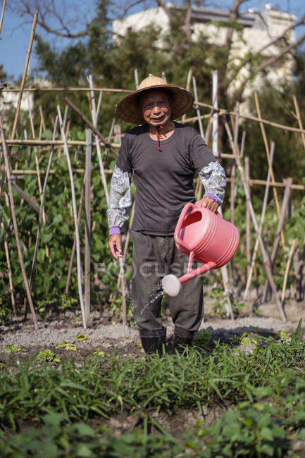 Full body middle aged Asian man in traditional oriental straw hat looking at camera and using watering pot while pouring green plants growing in garden in Taiwan — Stock Photo