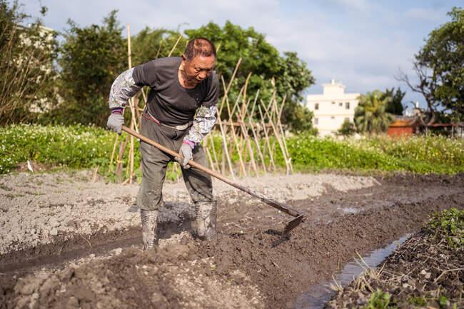 Сосредоточен на азиатском мужчине в повседневной одежде и сапогах, культивирующем влажную почву мотыгой перед посадкой в саду на Тайване — стоковое фото