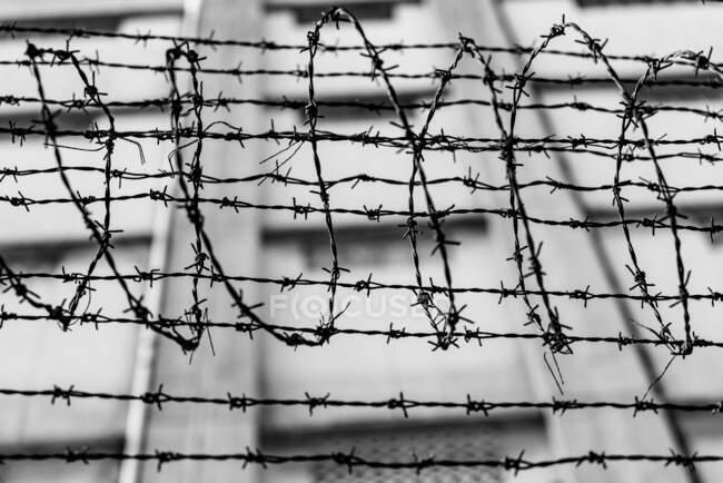 Черное и белое из колючей проволоки над забором на заднем плане — стоковое фото