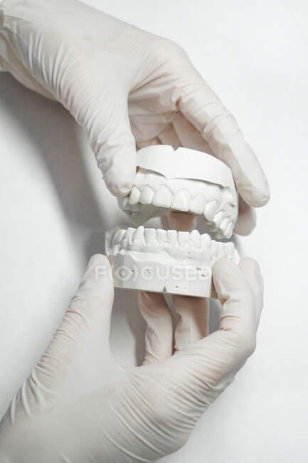 Crop dentista anonimo in guanti medici in possesso di protesi dentarie in laboratorio moderno — Foto stock