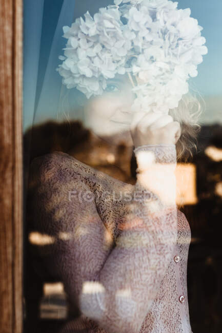 Smiling female in cozy clothes standing near window and covering face with hydrangea flower while looking at camera — Stock Photo