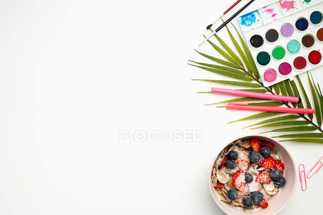 Top view of colorful paint palette and stationery placed on white background with bowl filled with muesli and fresh berries — Stock Photo