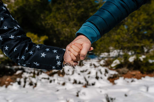 Cropped unrecognizable father and daughter holding hands walking in snowy winter forest — Stock Photo