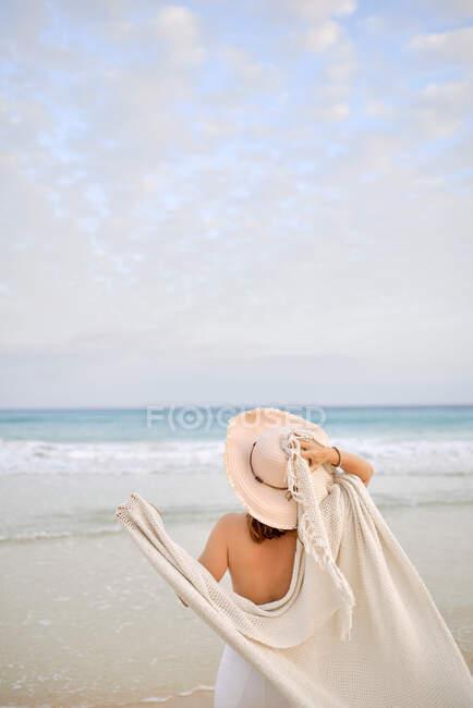 Vista posterior viajero femenino en sombrero de pie a lo largo de la orilla del mar y mirando hacia otro lado - foto de stock