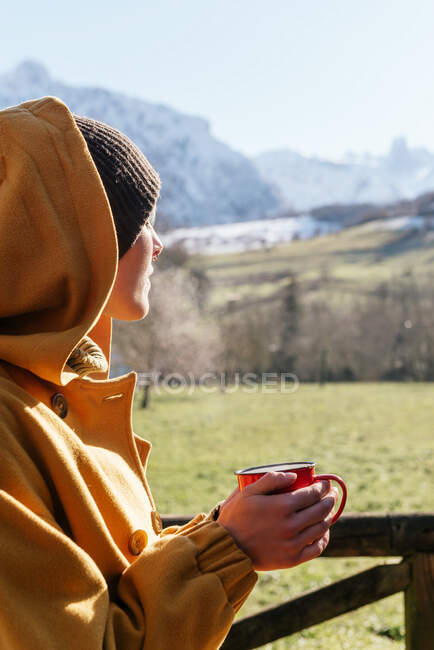 Side view contemplative female in warm clothes and hood holding cup of aromatic hot drink and admiring scenic highlands on sunny winter day — Stock Photo