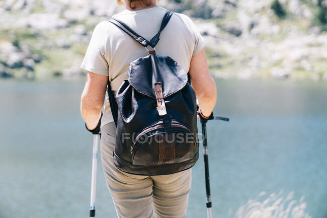 Back view anonymous female hiker standing with walking poles on stony river coast in Catalan Pyrenees on sunny summer weather — Stock Photo