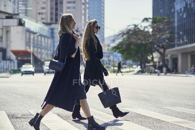 Vista lateral de los socios femeninos jóvenes y elegantes rubias en ropa de moda paseando por el camino de asfalto en la ciudad - foto de stock
