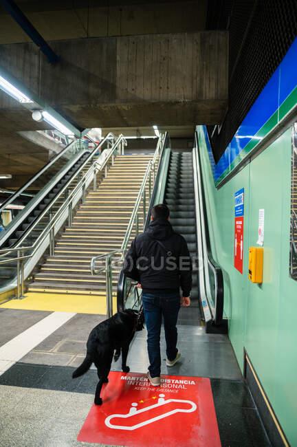 Hombre ciego caminando sobre escaleras mecánicas con perro guía - foto de stock