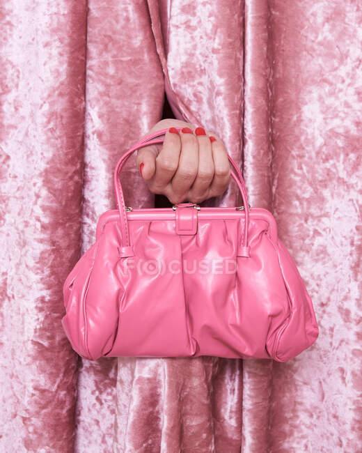Crop mujer anónima mostrando bolso rosa de moda a través de agujero de la cortina de terciopelo - foto de stock