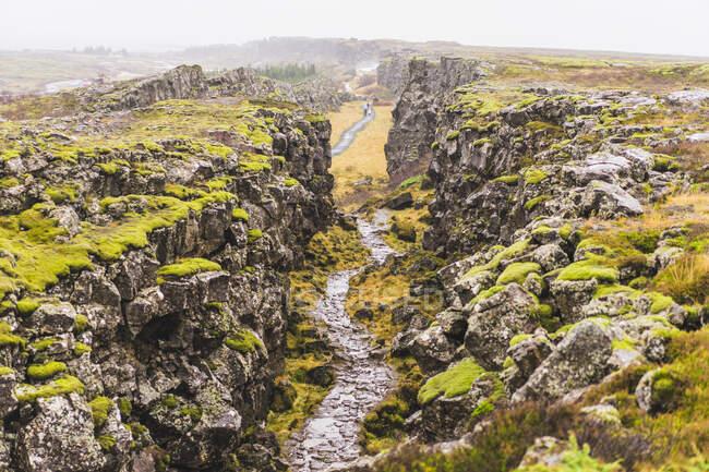 Bella vista sul parco nazionale di Pingvellir, regione meridionale, Islanda — Foto stock