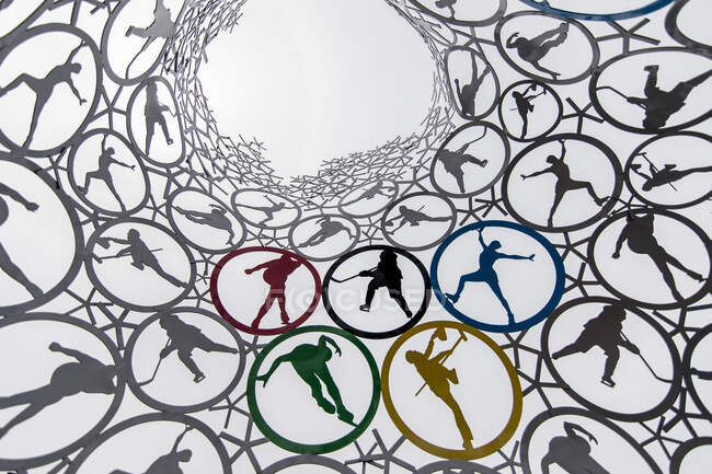 PYEONGCHANG - JUNE 17, 2018: From below of creative geometric structure representing winter sports of global competition in South Korea — Stock Photo