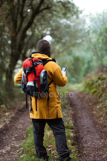 Back view of anonymous male trekker with rucksack browsing smartphone during trip in daylight — Stock Photo