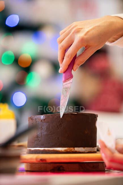 Невпізнавана жінка з ножем у шоколадному торті під час приготування їжі в професійній пекарні. — стокове фото