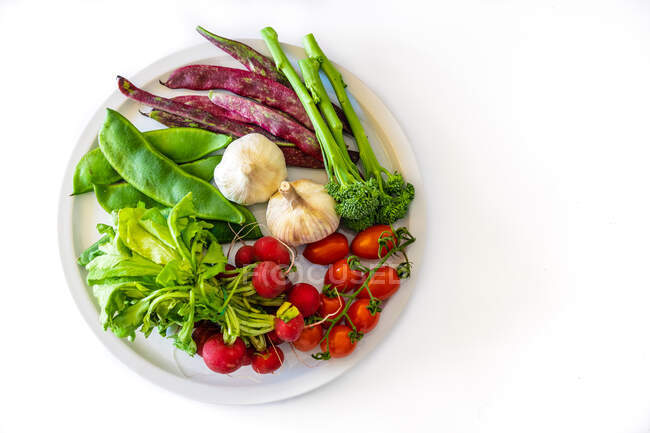 Top view of fresh green beans garlic cherry tomatoes on branch with radish and greens on plate above white background — Stock Photo