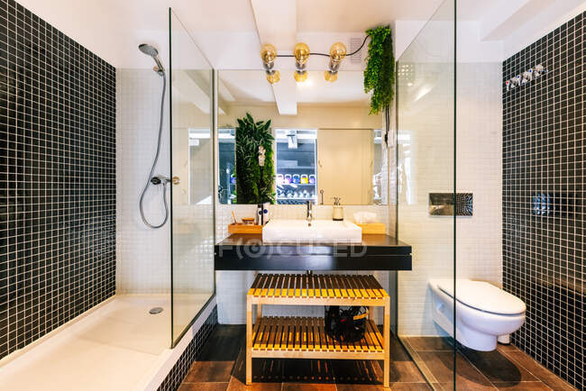 Interior of stylish bathroom with sink and faucet under mirror with shower and toilet — Stock Photo