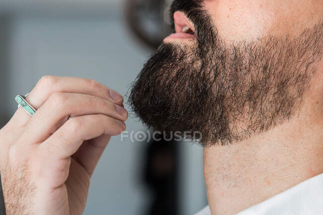 Side view closeup of crop anonymous hipster male in ring touching beard in hairdressing salon in daytime — стоковое фото