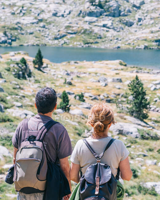 Back view of anonymous backpackers contemplating lake between mounts with stones and trees during summer trip — Stock Photo