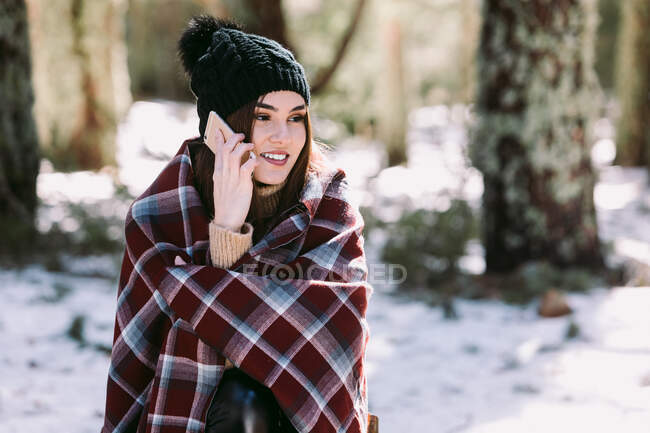 Cheerful female wrapped in warm plaid sitting on tree trunk in winter forest and talking mobile phone on sunny day — Stock Photo