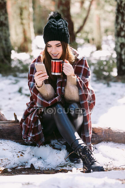 Cheerful female wrapped in warm plaid sitting on tree trunk in winter forest and browsing mobile phone on sunny day — Stock Photo