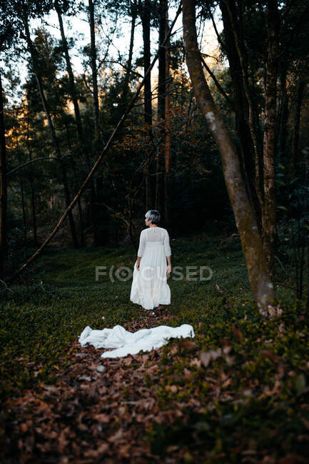 Full body of anonymous female wearing white dress standing near green trees in nature on evening time — Stock Photo