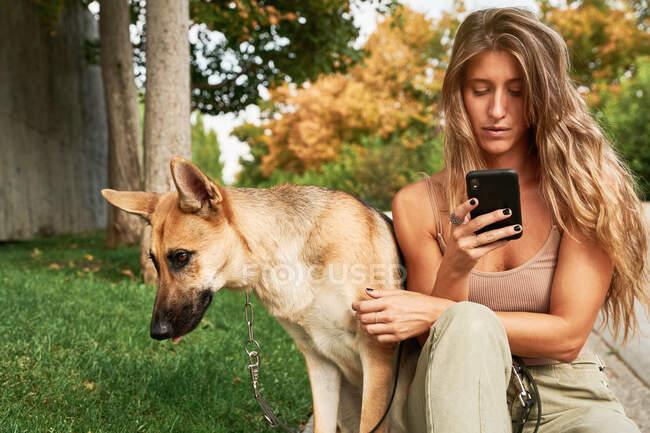 Konzentrierte Frau mit langen Haaren sitzt auf Gras neben Schäferhund-Haustier und benutzt Handy im Park — Stockfoto