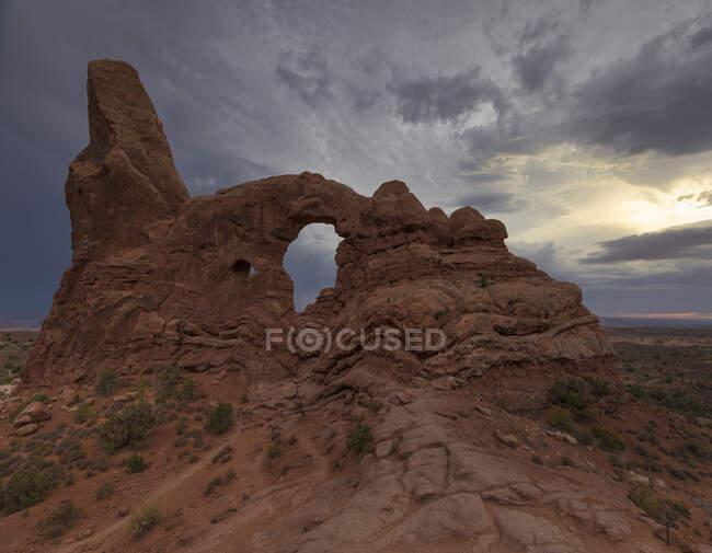 Удивительный ландшафт с арочным образованием в красной скале вблизи редкой растительности, расположенный в национальном парке против облачного неба в США — стоковое фото