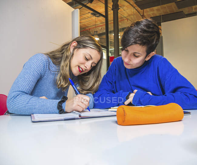 Étudiant avec marqueur expliquant l'information pour son camarade de classe tout en travaillant sur le devoir ensemble contre tableau blanc — Photo de stock