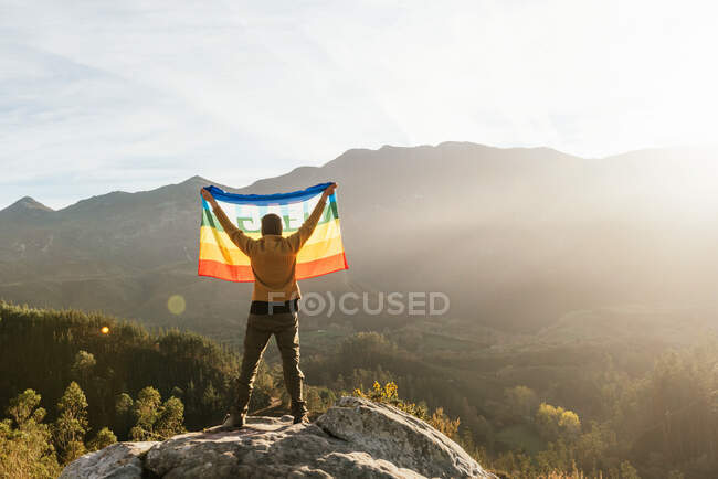 Back view of hiker standing with rainbow LGBT flag with inscription Peace and enjoying freedom with outstretched arms in mountains — Stock Photo